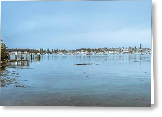 Vinalhaven Harbor In Winter Greeting Card by Tim Sullivan