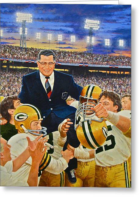 Crowd Mixed Media Greeting Cards - Vince Lombardi Greeting Card by Cliff Spohn