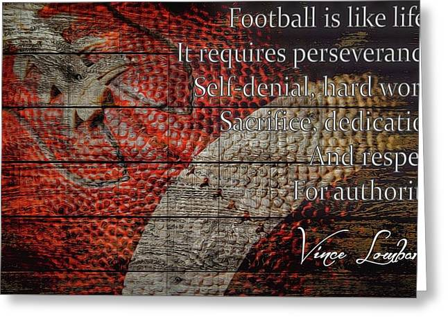 Vince Lombardi Football Quote Barn Door Greeting Card by Dan Sproul