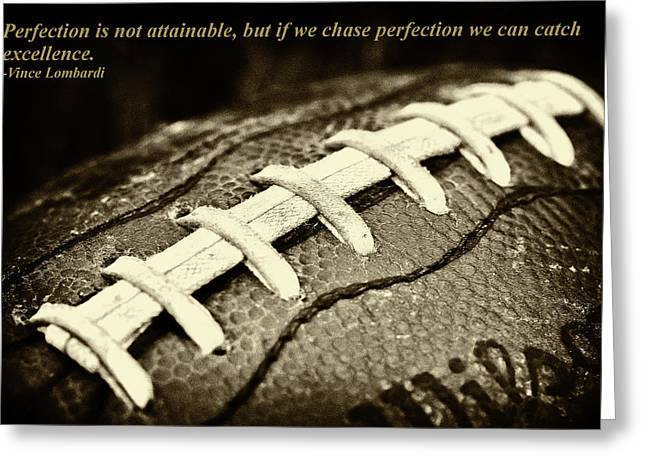 Vince Lombardi Perfection Quote Greeting Card by David Patterson