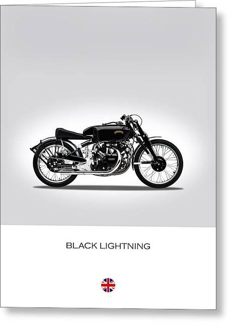 Vincent Black Lightning Greeting Card by Mark Rogan