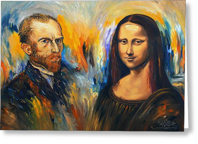 Vincent Meets Mona Lisa Xl 1 Greeting Card by Peter Nottrott
