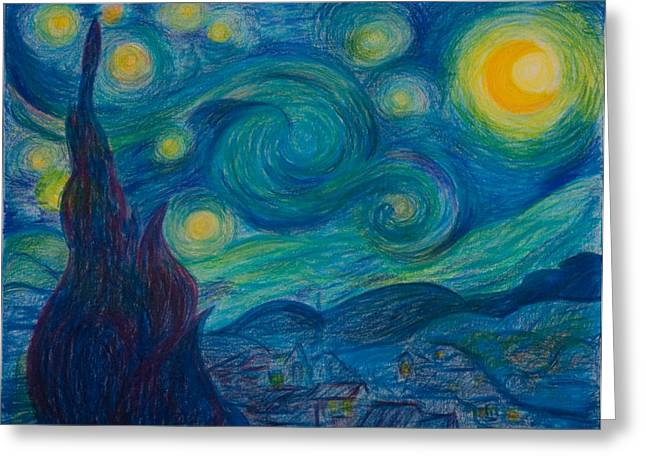 Vincent Starry Night Greeting Card by Elena Soldatkina