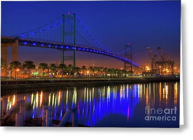 Vincent Thomas Bridge Greeting Card by Eddie Yerkish