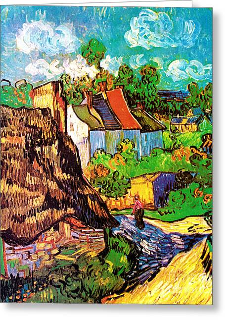 Vincent Van Gogh Houses At Auvers  Greeting Card by Pg Reproductions