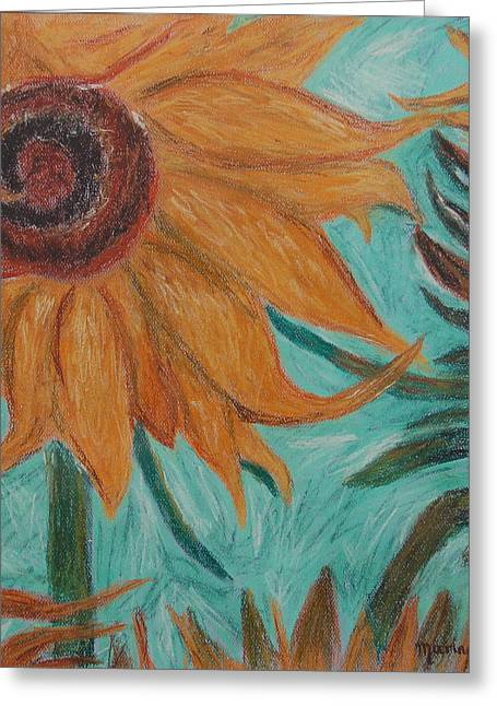 Vincent's Sunflower Greeting Card by Marina Garrison