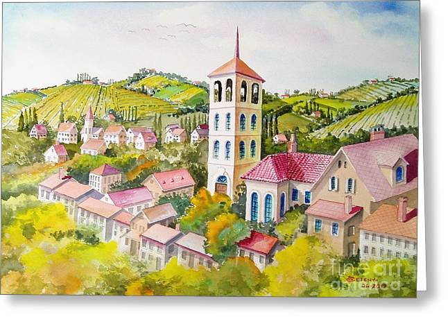 Vine Country Greeting Card by Charles Hetenyi