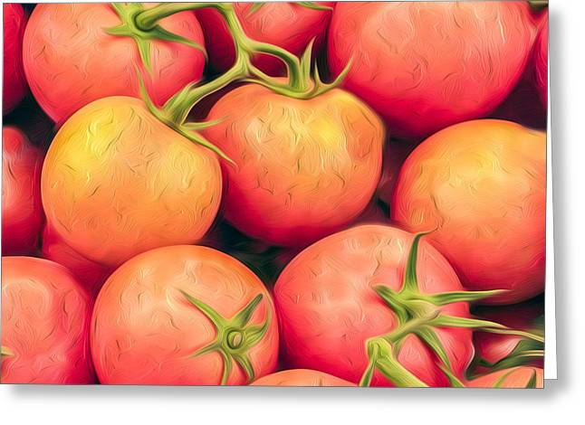 Vine-ripened Tomatoes Kitchen Accent Square Greeting Card by Dave Martin