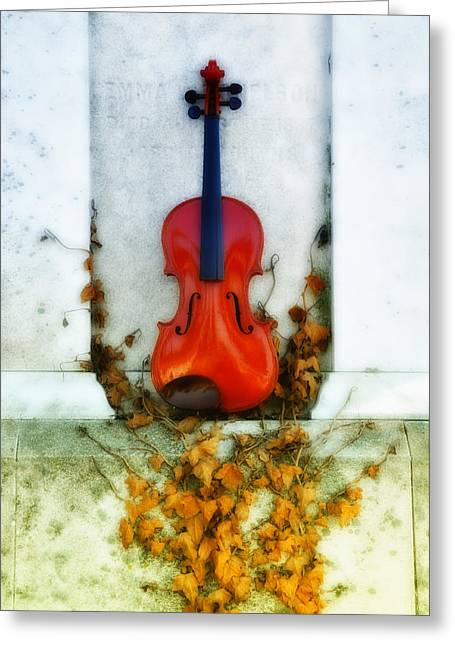 Vines And Violin Greeting Card by Bill Cannon