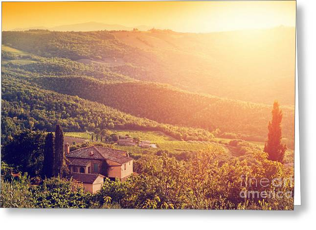 Vineyard And Farm House, Villa In Tuscany, Italy At Sunset Greeting Card