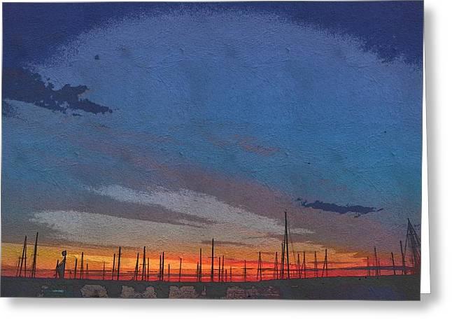 Vineyard Haven Harbor Pano Dawn 3 Greeting Card
