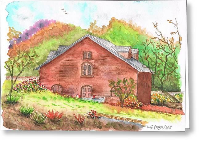 California Vineyard Paintings Greeting Cards - Vineyard Ladera Napa Valley - California Greeting Card by Carlos G Groppa