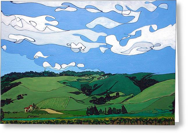 Vineyard Landscape 1 Greeting Card by John Gibbs