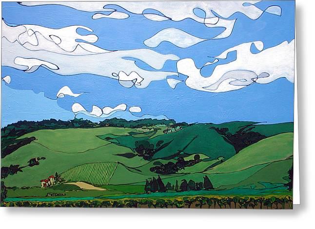 Calistoga Paintings Greeting Cards - Vineyard Landscape 1 Greeting Card by John Gibbs