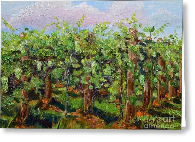 Vineyard Of Chateau Meichtry - Ellijay Ga - Plein Air Painting Greeting Card