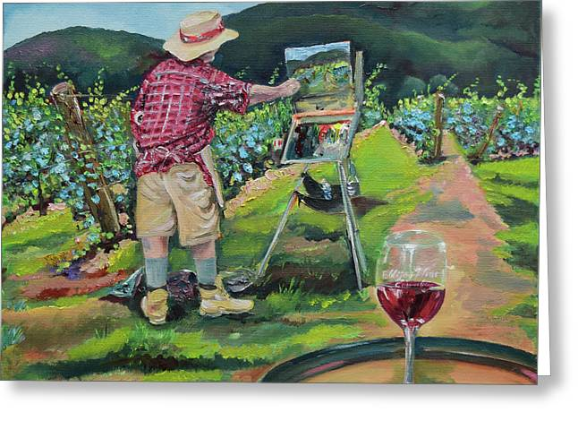 Greeting Card featuring the painting Vineyard Plein Air Painting - We Paint With Wine by Jan Dappen