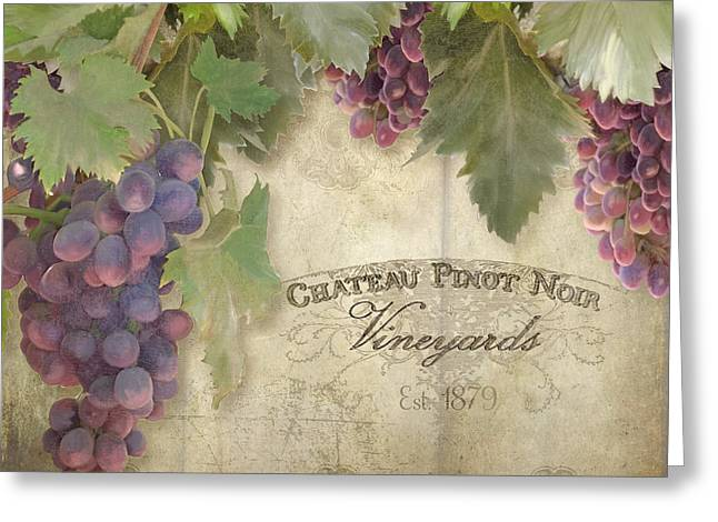 Vineyard Series - Chateau Pinot Noir Vineyards Sign Greeting Card by Audrey Jeanne Roberts