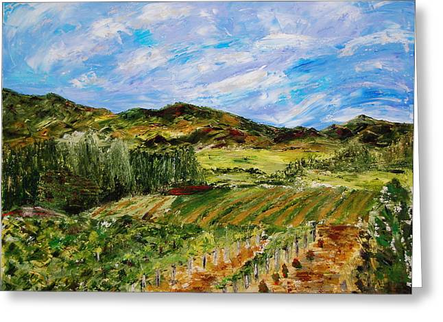 Vineyard Solitude Greeting Card by Deborah Gall
