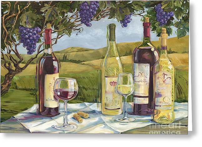Vineyard Wine Tasting Greeting Card by Paul Brent