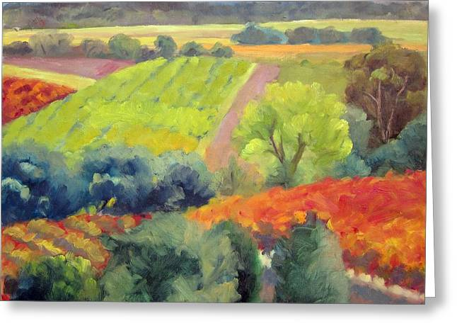 Vineyards At Peak Greeting Card by Deborah Cushman
