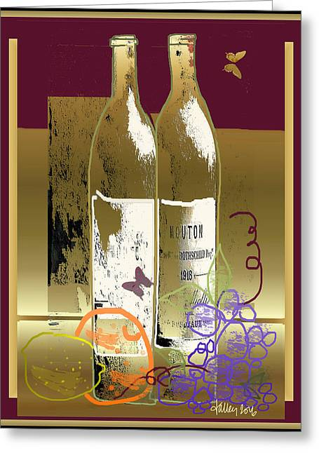 Vin, Fruit, Et Papillons Greeting Card