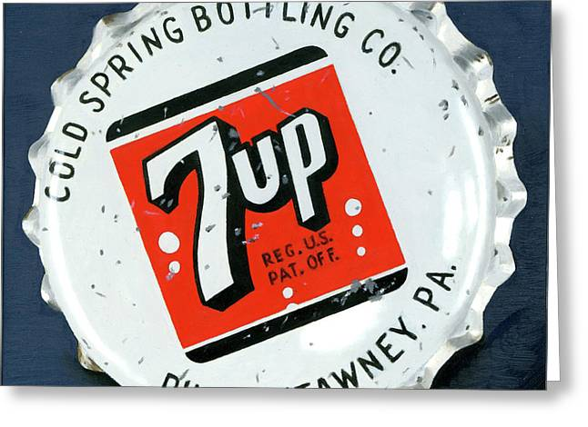 Vintag Bottle Cap, 7up Greeting Card by Rob De Vries