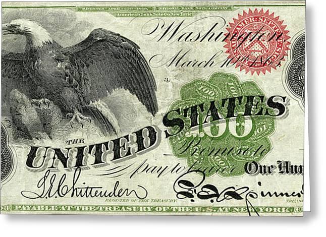 Vintage $100 Bill Circa 1863 Greeting Card by Jon Neidert