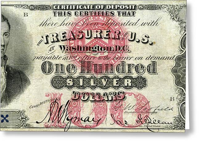Vintage $100 Bill Circa 1878 Greeting Card by Jon Neidert