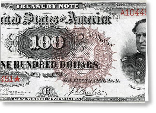 Vintage $100 Bill Circa 1890 Greeting Card by Jon Neidert