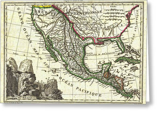Vintage 1810 Map Of Mexico Texas And California Greeting Card by Stephen Stookey