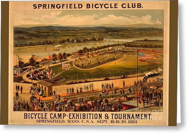 Vintage 1883 Springfield Bicycle Club Poster Greeting Card by John Stephens