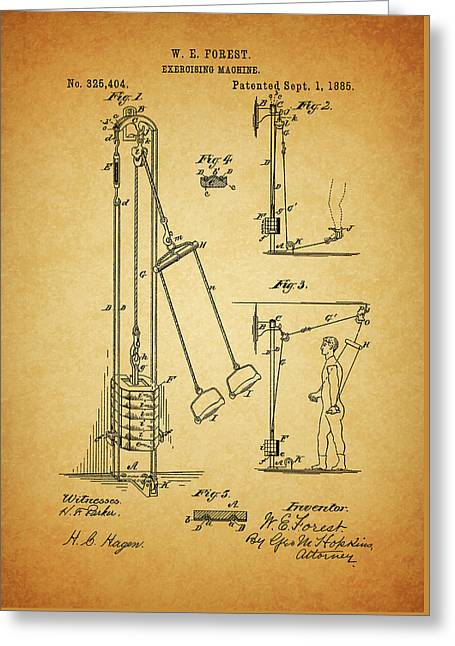 Vintage 1885 Exercising Device Patent Greeting Card
