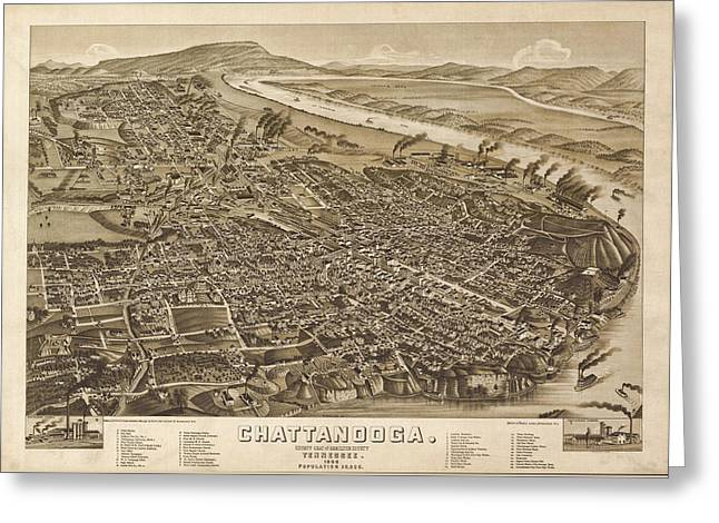 Vintage 1886 Chattanooga Map Greeting Card