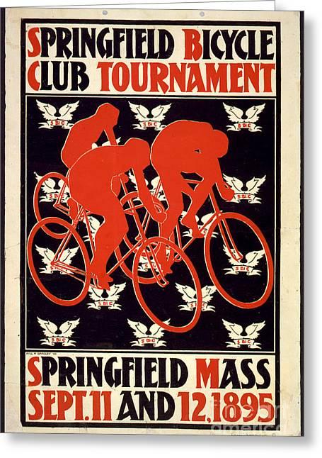 Vintage 1895 Springfield Bicycle Club Poster Greeting Card by John Stephens