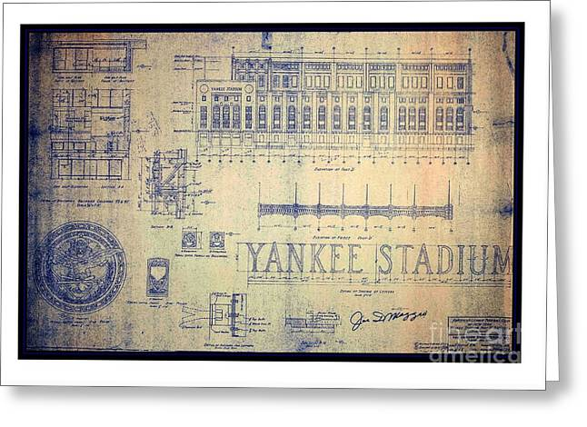 Vintage 1920s Art Deco Yankee Stadium Blueprint Autographed By Joe Dimaggio Greeting Card