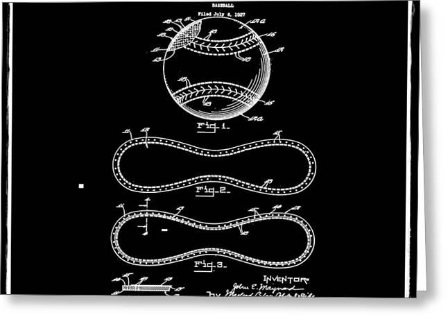 Vintage 1928 Baseball Patent Black Greeting Card
