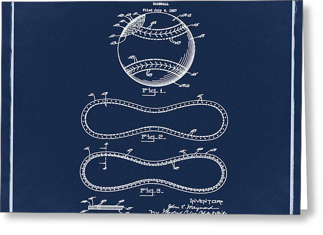 Vintage 1928 Baseball Patent Blue Greeting Card by Bill Cannon