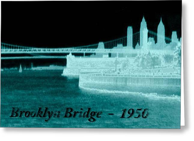 Vintage 1950 Brooklyn Bridge Artsy Greeting Card by Marilyn Hunt