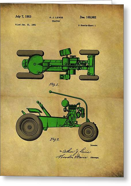 Vintage 1953 Green Tractor Patent Greeting Card by Dan Sproul
