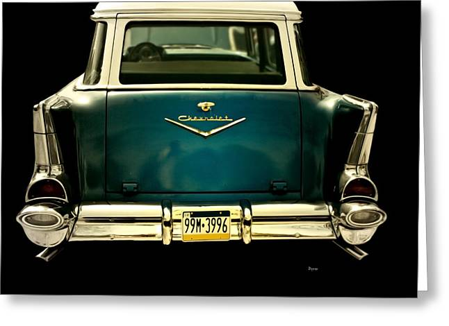 Station Wagon Greeting Cards - Vintage 1957 Chevy Station Wagon Greeting Card by Steven  Digman
