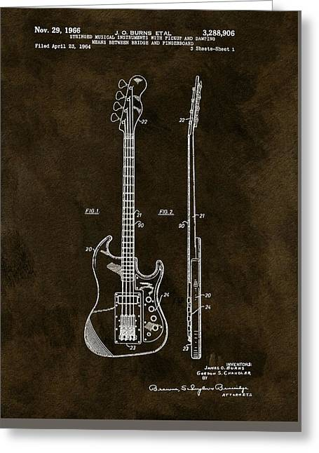 Vintage 1966 Bass Guitar Patent Greeting Card