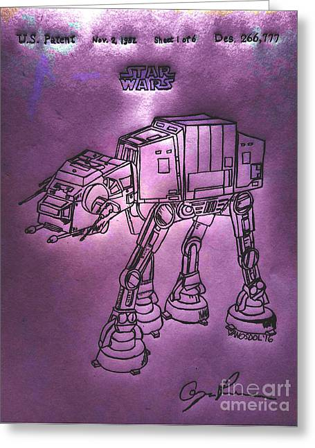 Vintage 1982 Patent At-at Star Wars - Purple Glow Greeting Card