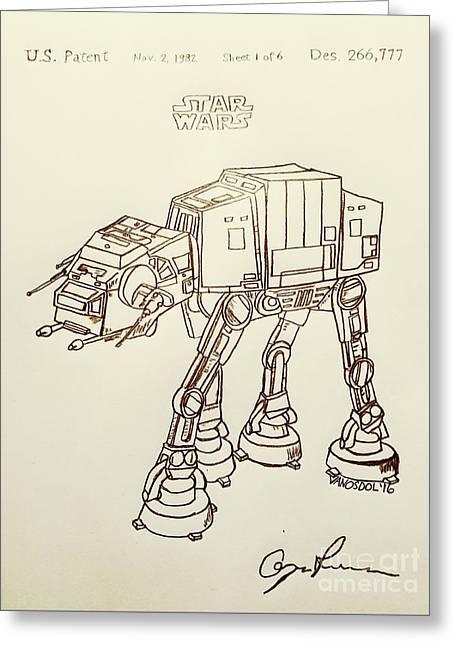 Vintage 1982 Patent At-at Star Wars - Vintage Greeting Card