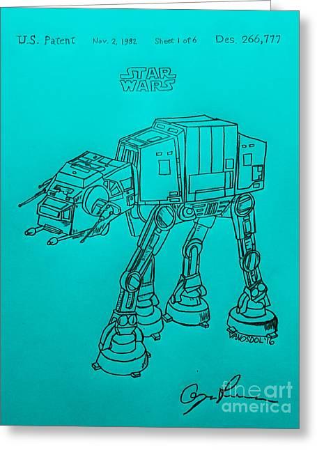 Vintage 1982 Patent Atat Star Wars - Blue Background Greeting Card