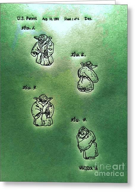 Vintage 1982 Star Wars Yoda Patent - Green Abstract Greeting Card by Scott D Van Osdol