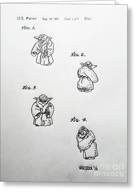 Vintage 1982 Star Wars Yoda Patent - Original Greeting Card by Scott D Van Osdol
