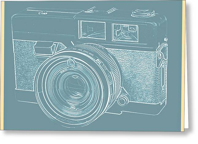Vintage 35mm Film Camera Blue Pop Art Greeting Card by Edward Fielding