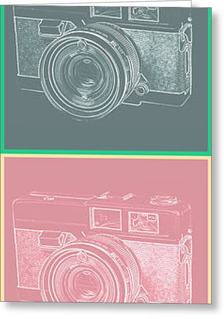 Vintage 35mm Film Camera Pop Art Totem Greeting Card by Edward Fielding