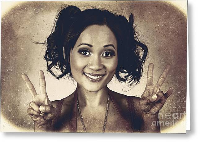 Vintage 50s Asian Woman Showing Peace Sign On Hand Greeting Card by Jorgo Photography - Wall Art Gallery