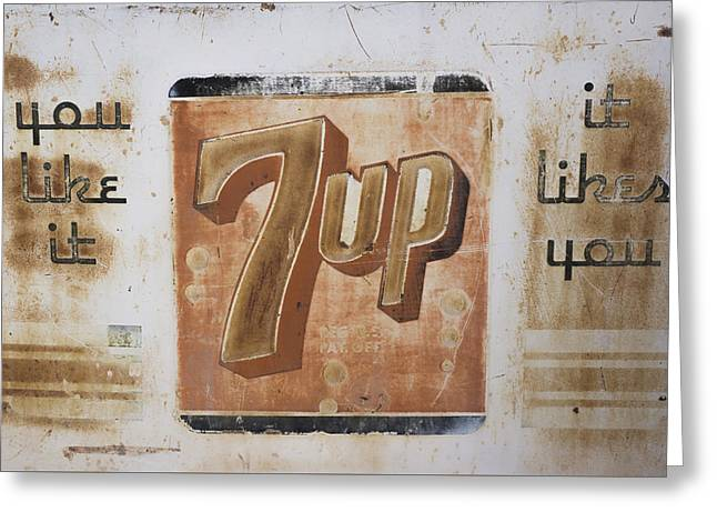 Vintage 7 Up Sign Greeting Card